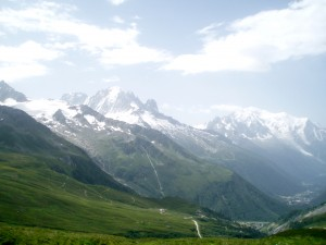 Mont Blanc comes into view as we cross the Col de Balme